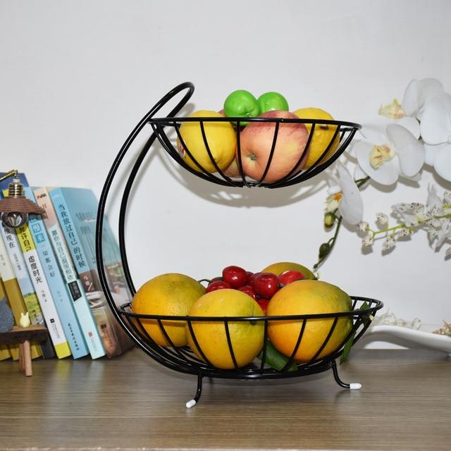 kitchen fruit basket arm chairs accessories storage rack double layer bandeja boite de rangement home living room decoration plate