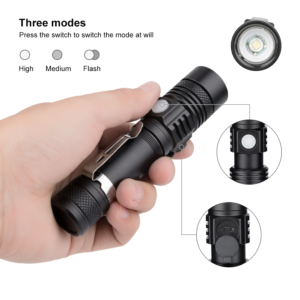 Powerful Flashlight XML-T6 Aluminum Alloy Waterproof Zoomable USB LED Flashlight Torch Light Lantern 3 Modes For 18650 Battery