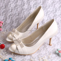 Wedopus Custom Handmade Med Heel Ivory Satin Bride Wedding Shoes for Women