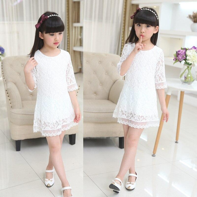 tjejer klänning 2019 ny sommar spets barn vitt stor storlek rund - Barnkläder - Foto 4