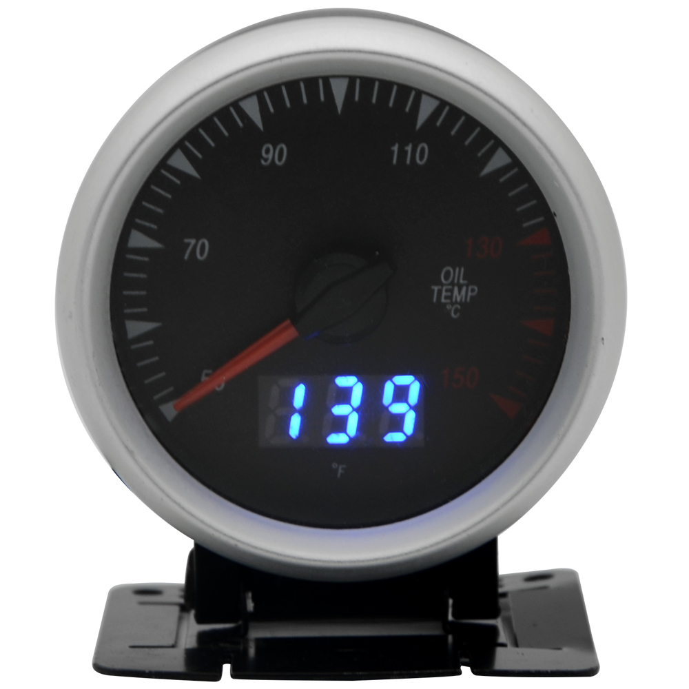 2.5 Inch 60mm Oil Temp Gauge Dual Units Digital Analog Display Blue LED With Sensor|display digital|display led|display unit - title=
