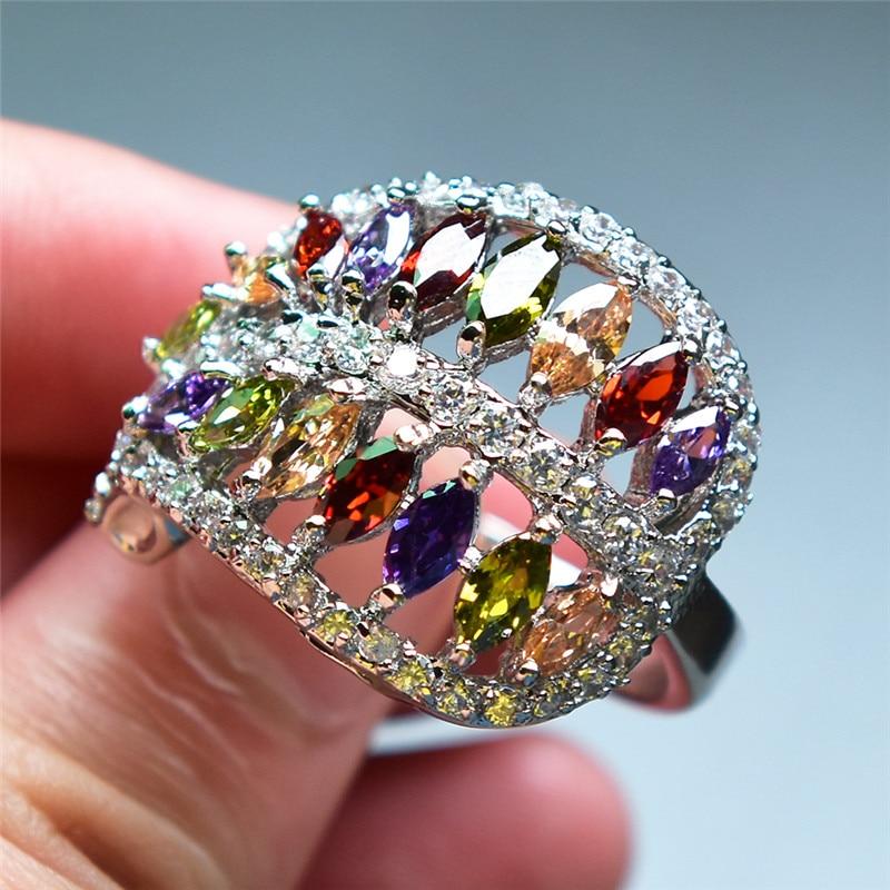 2018 New Arrival Mystery Rainbow Ring Female Big CZ Stone
