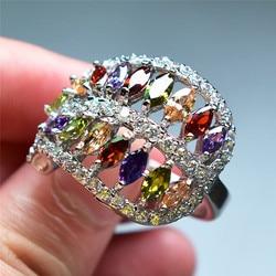 2018 New Arrival Mystery pierścień tęczy kobiet duży CZ kamienny pierścień moda kolor srebrny obrączki ślubne dla kobiet