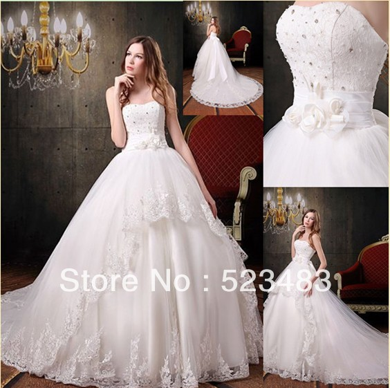 Discount Real Picture Ball Gown Strapless Beautiful White Lace ...