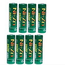 8 шт. AA батареи 1,6 в никель-Цинк 2500mWh Ni-Zn 2A aa аккумуляторная батарея