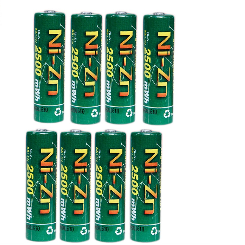 8Pcs  AA Batteries 1.6V Nickel Zinc 2500mWh Ni Zn 2A aa Rechargeable Battery-in Rechargeable Batteries from Consumer Electronics    1