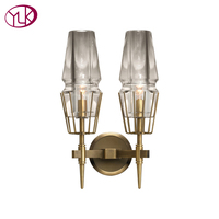 Youlaike Double Lights Copper Wall Lamp Bedroom Living Room Glass Lampshde LED Wall Sconce Lighting