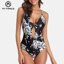 Attraco Women Swimsuit One-piece Floral Print Backless V Neck Bandaged Strappy Back Cross Sexy Bikini Beachwear Bathing suit sweet style strappy criss cross floral print swimsuit for women