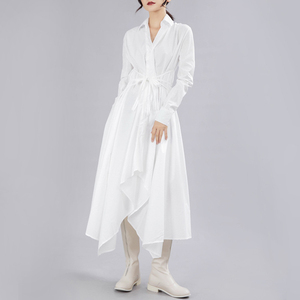 Image 3 - [EAM] فستان جديد لربيع وخريف 2020 بأزرار وأكمام طويلة ومزين بطيات وتصميم غير منتظم فستان نسائي على الموضة JY778