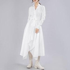 Image 3 - [Eem] 2020 yeni bahar sonbahar yaka uzun kollu düğme bandaj dikiş pileli düzensiz gömlek elbise kadın moda gelgit JY778