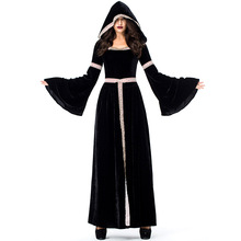 Umorden Gothic Sorceress Costume Pagan Witch Costumes Medieval Dress Black Long Hooded Velvet Halloween Purim Party Cosplay