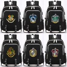 Magic Shool Slytherin Gryffindor USB Headphone Jack Boy Girl School bag Women Bagpack Teenagers Canvas Men Backpack Packsack