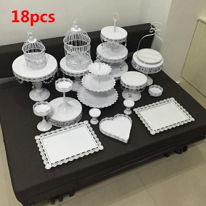 Blanc gâteau de mariage stand ensemble 18 pièces christm cupcake stand barware décoration cuisine gâteau outils ustensiles de cuisson ensemble parti vaisselle