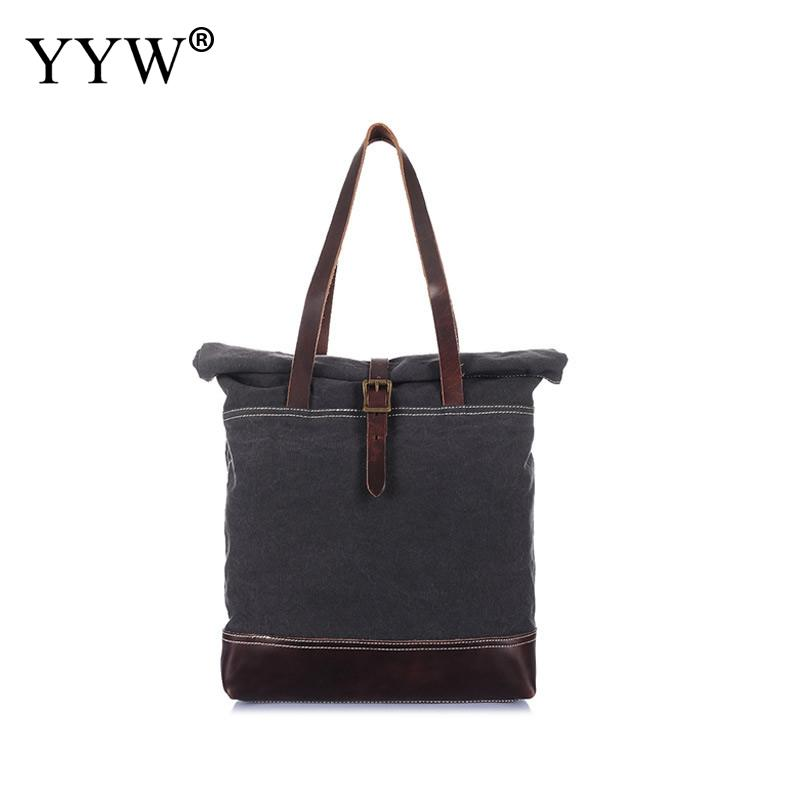 Vintage Canvas Unisex Handbags Camel To-Handle Bag for Men Dark Grey Women Tote Bags with Magnetic Snap Army Green Male Totes japanese pouch small hand carry green canvas heat preservation lunch box bag for men and women shopping mama bag