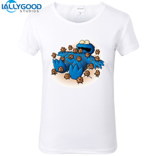 New Summer Funny Cookie Monster Design T-shirts Women  Monster Printed Short Sleeve Tees Soft Cotton White Tops S1348