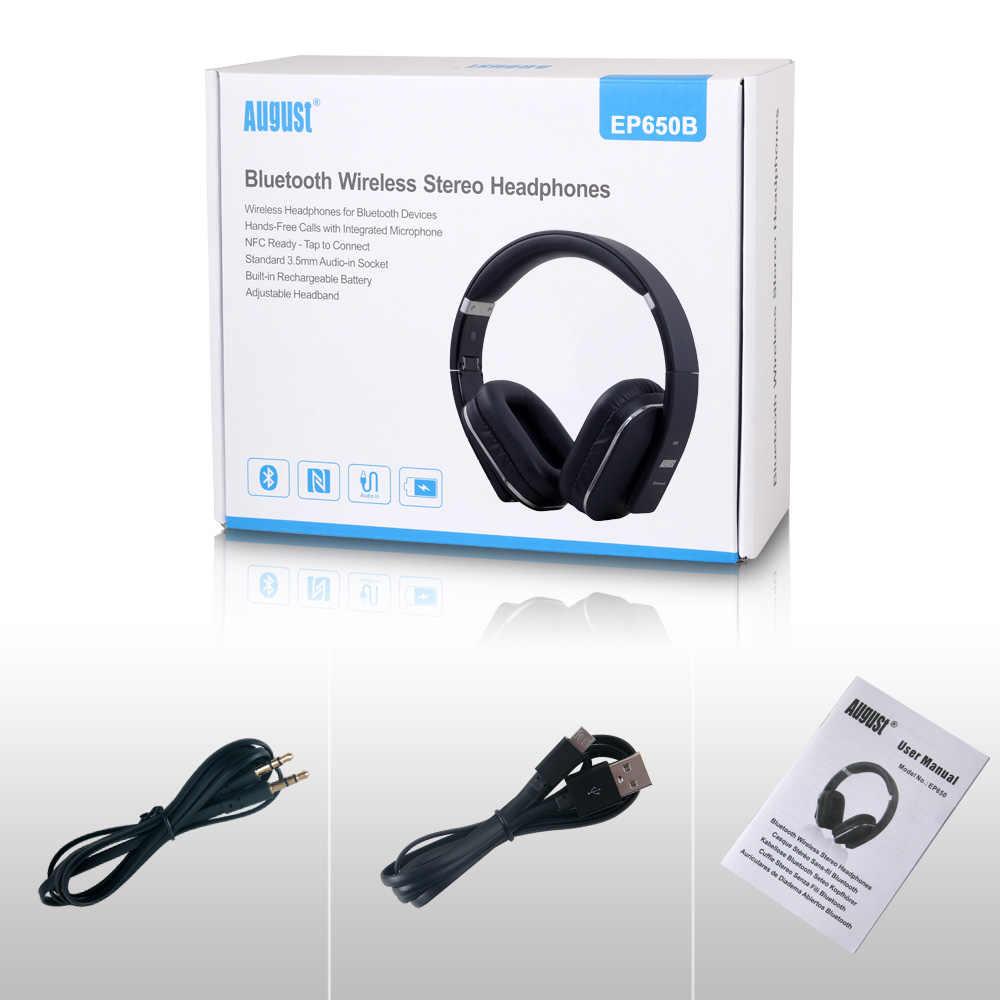 Sierpień EP650 słuchawki bezprzewodowe z Bluetooth z mikrofonem/Multipoint/NFC przez ucho Bluetooth 4.1 muzyka stereo aptX zestaw słuchawkowy do telewizora, telefonu