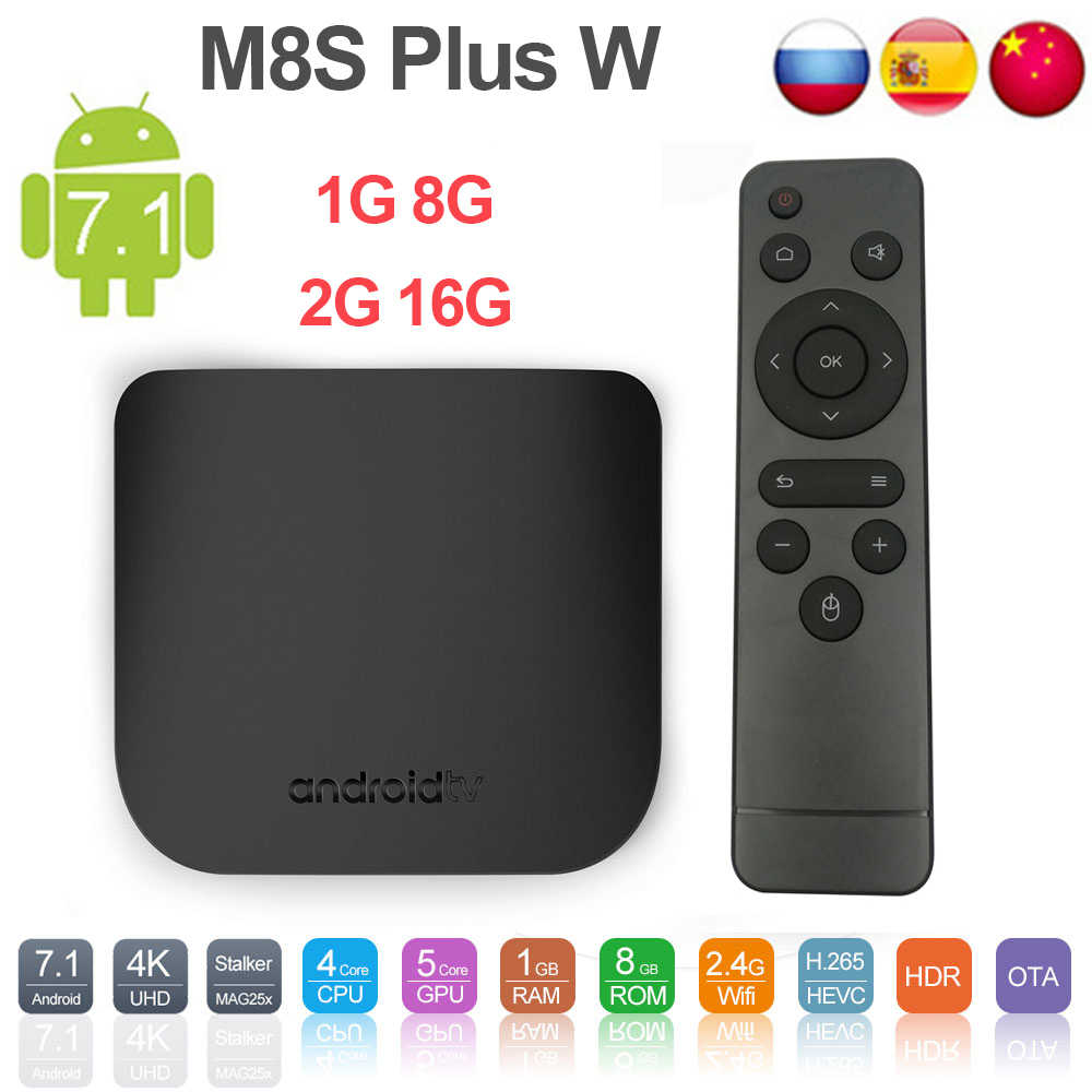 Mecool M8S Plus W Android 7.1 Smart TV Box Amlogic 905W 2.4G WIFI 1G/8G 2G/16G Kotak TV HD Set Top Box 4K Media Player