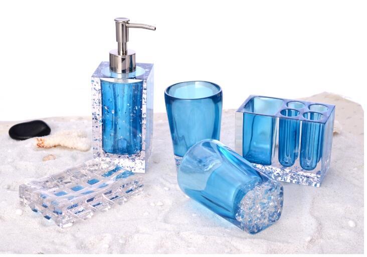 Kryształ zestaw akcesoriów łazienkowych uchwyt na szczoteczkę do zębów balsam butelka 5 sztuk kreatywny apartament typu Suite łazienka mycia akrylowe Ware strona główna dekoracji w Zestawy akcesoriów łazienkowych od Dom i ogród na  Grupa 2