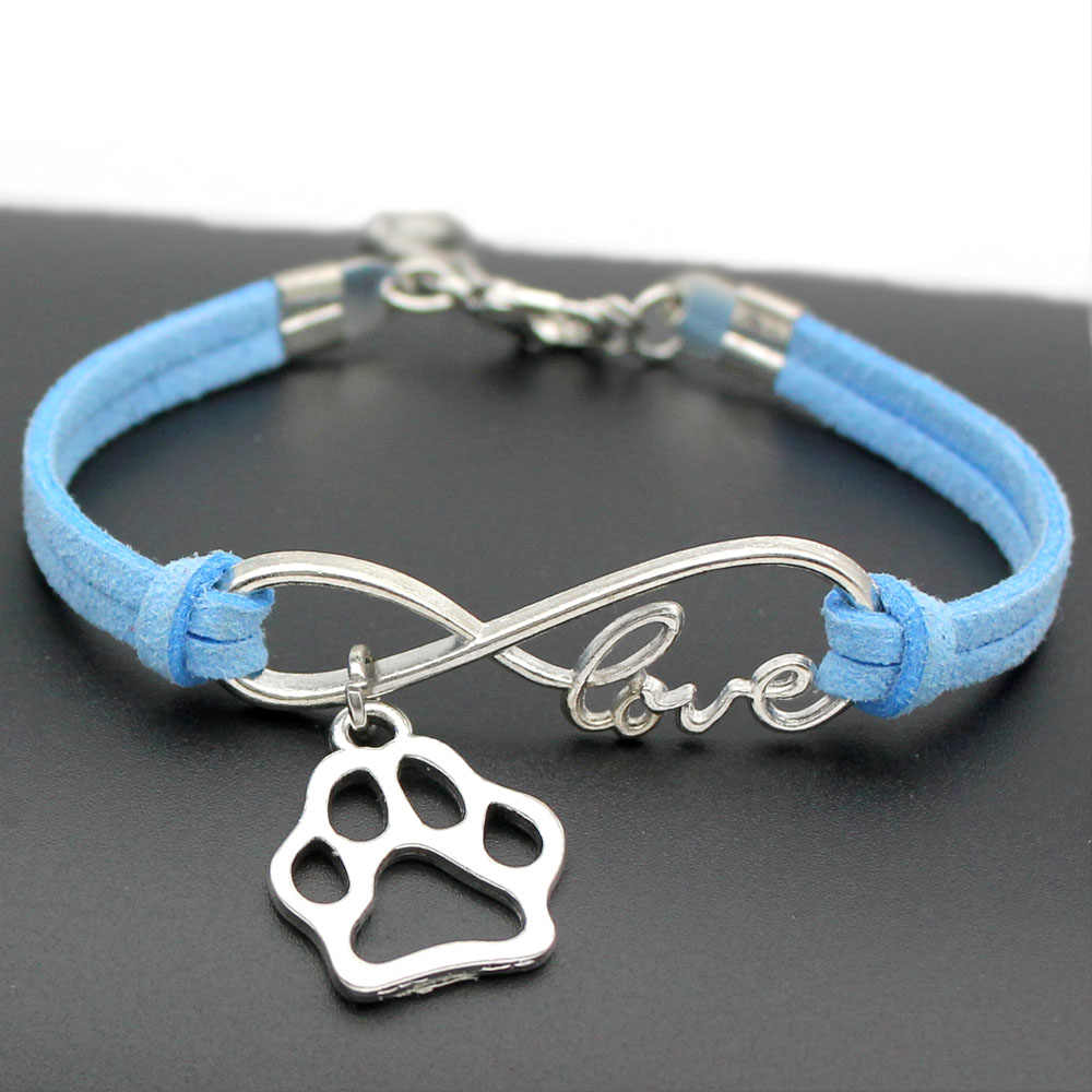 1pcs infinity handmade Women Stylish  Love Pets Dogs Lover Cat Animal Bear Paw Charms Pendant Bracelet Friendship Gift 7435