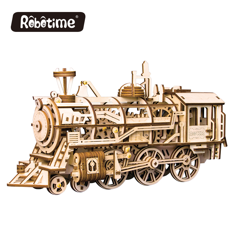 NEW Robotime 3D Puzzle DIY Movement Assembled Wooden Jointed Locomotive Model for Children Teenage Clockwork spring toy 349pcs 97pcs diy wooden tractor mechanical transmission model assembly puzzle toy for ugears gift