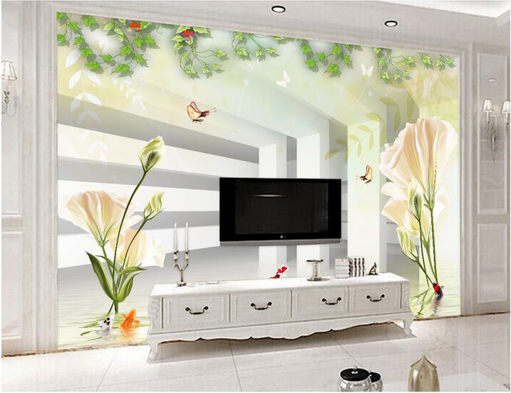 Custom photo 3d wallpaper Non-woven mural Lily hand draw 3 d TV setting wall flower wallpaper extended space  mural wall paper