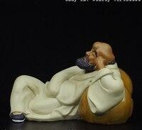 Buddha Pottery Wucai Porcelain Gourd Arhat Damo Bodhidharma Dharma Buddha Statue