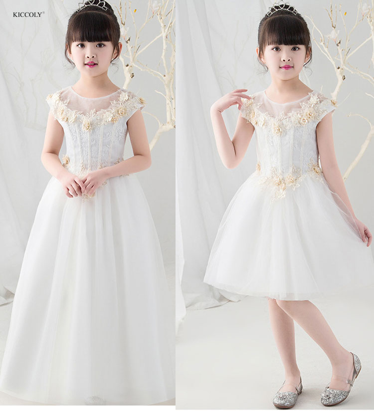 KICCOLY 2018 New Elegant White Summer Girls Dress Children Lace Embroidery Clothing Kids Dress For Girls Princess Wedding Dress girls embroidery detail contrast lace hem dress