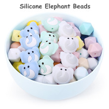 Chenkai 50PCS Silicone Elephant Teether Beads DIY Baby Shower Animal Cartoon Chewing Pacifier Dummy Sensory Toy Accessories
