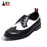 Men Retro Genuine Leather Pointed Toe Lace Up Fretwork Wing Tip Brogue Shoes Formal Dress Oxfords