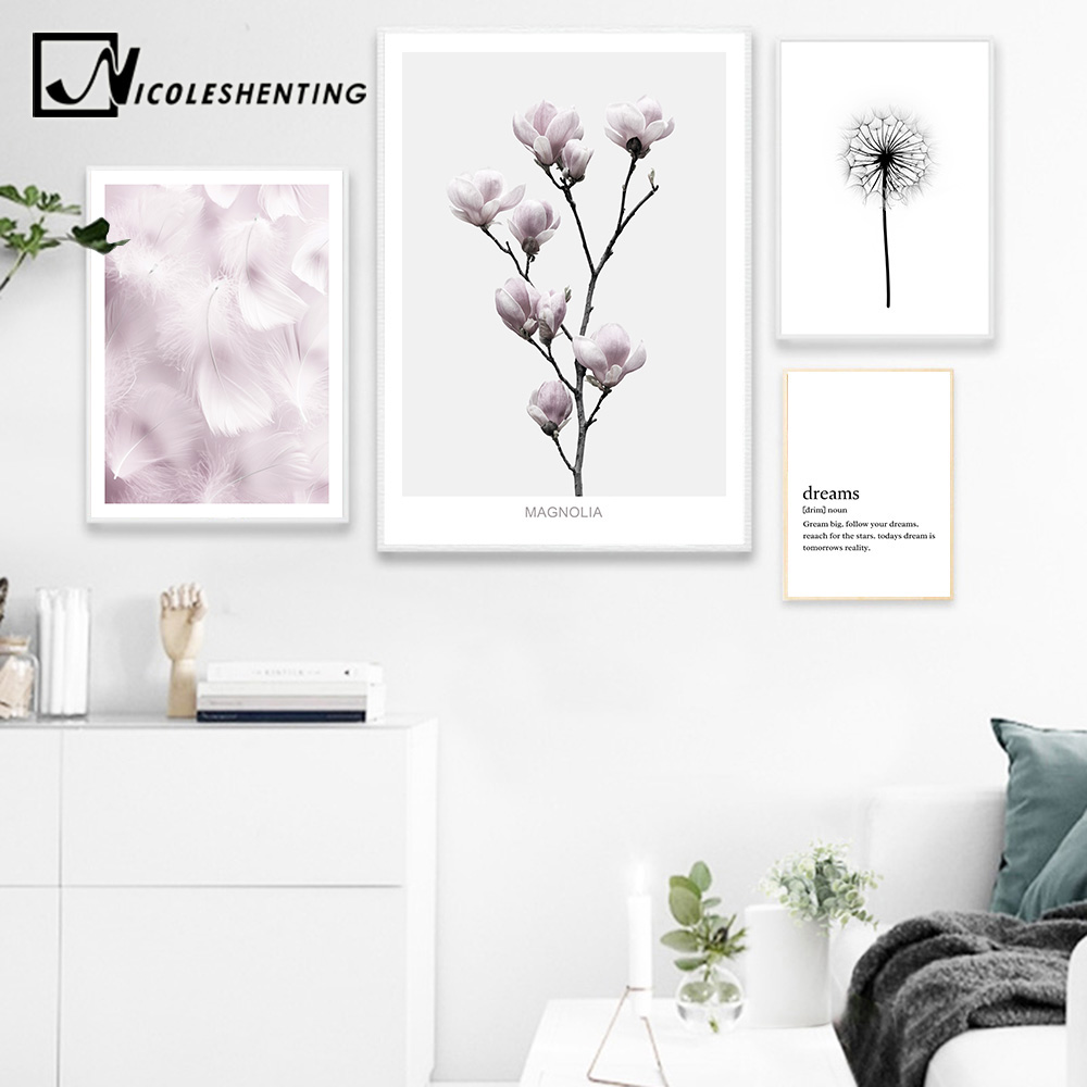NICOLESHENTING Flower Feather Wall Art c