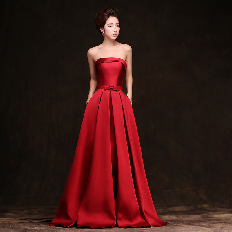 Simple Elegant Strapless Off The Shoulder Satin Red Long