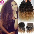 Ombre Brazilian Curly Virgin Hair With Closure Kinky Curly 3 Bundle With Closure Meches Bresilienne Lots Avec Closure Curly Hair