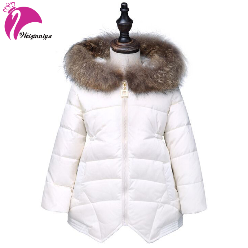 weiqinniya Girls Down Parkas Jackets Winter jacket For Girl Fashion Children Parka For Gril 2018 Kids Fur Hooded Parkas Jackets женские пуховики куртки parkas women 2015 parka mujer