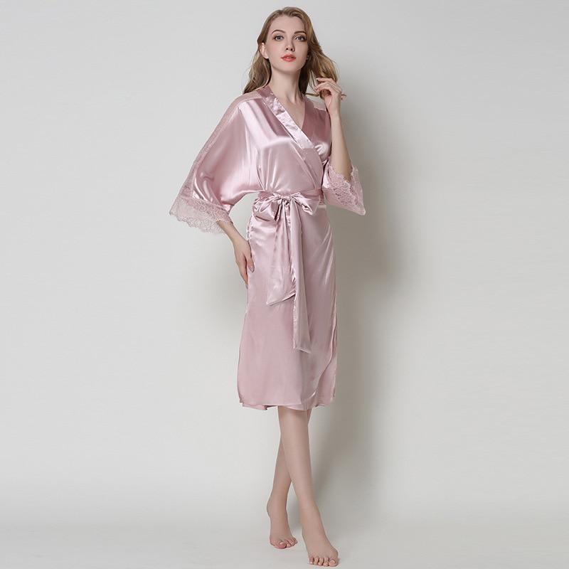 b2e756471e SusanDick Elegant Noble Silk Robe Dressing Gown Women Chinese Satin  Bathrobe Ladies Lace Sexy Long Robes Kimono Womens Nightwear-in Robes from  Underwear ...