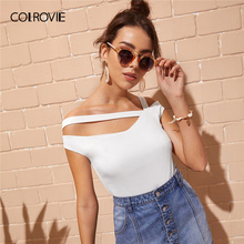 COLROVIE White Solid Asymmetrical Neck Sexy T Shirt Women Clothes 2019 Summer Style Black Korean Slim Fit Ladies Tee Shirts Tops