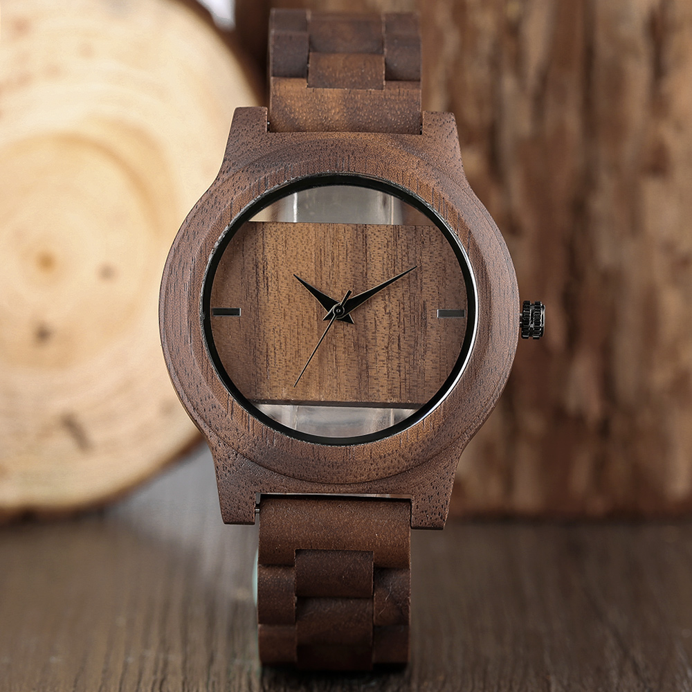 Full Wooden Watches Quartz Watches Men Baffle Design Hollow Wristwatch Simple Modern Nature Wood Bamboo No Logo relojes hombre cool watch designs nature wood watches novel wooden wristwatch simple bamboo genuine leather strap mens womens unisex relojes