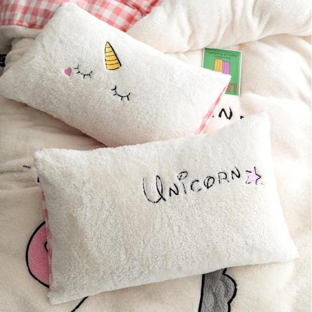 Lovely Fleece Unicorn Bedding Set