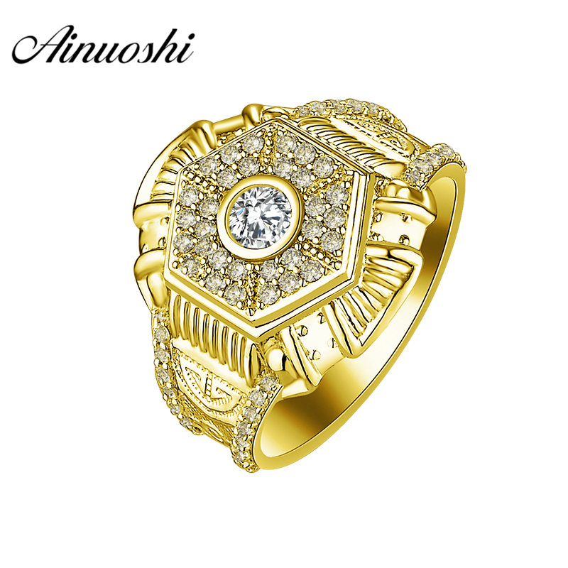 AINUOSHI 10K Solid Yellow Gold Ring 7g Wedding Band Shinning Hexagonal Design Halo Ring Wedding Engagement Gold Jewelry Men Band кольцо s j063 wedding band ring