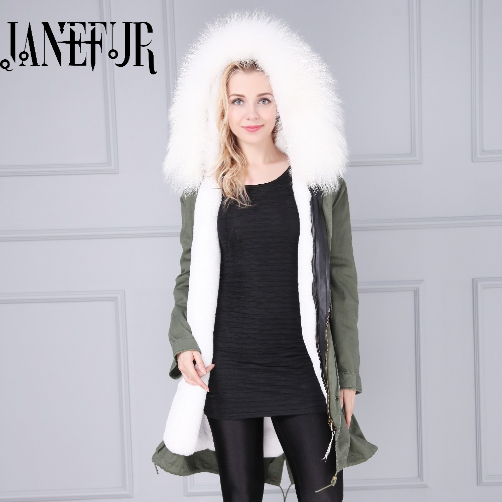 Women New Genuine Raccoon Fur Collar Hooded Parkas Jackets Long Sleeves Winter Warm Ladies Coat 2016 Fadshion Army Green Outwear 2017 winter new clothes to overcome the coat of women in the long reed rabbit hair fur fur coat fox raccoon fur collar