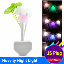 US Plug 3 LEDs Mushroom Lamp Novelty Romantic Colorful Home Illumination Light sensor automatic startup Beside Lamp Night Light