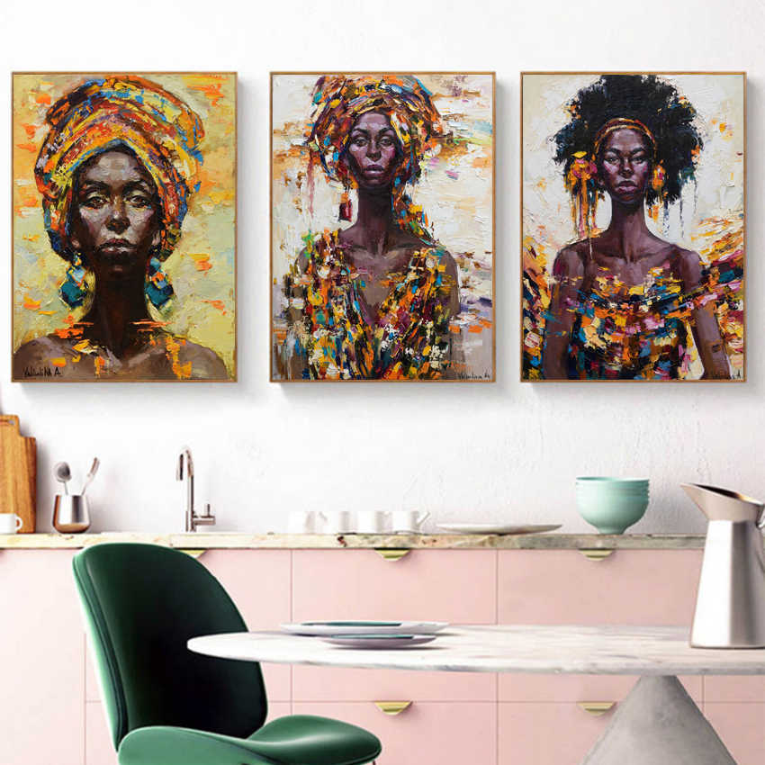 Graffiti African Girl Poster Canvas Art Prints , Watercolor African Woman Portrait Art Painting Wall Pictures Home Room Decor