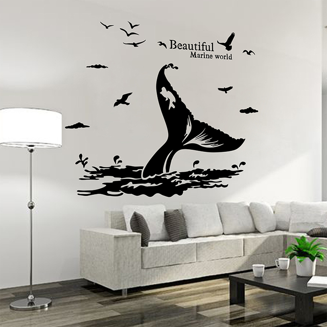 Custom Whale Tail Wall Sticker Cartoon Nautical Decor Decals For Home Kids Rooms