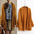 2016Autumn Fashion Casual Loose Solid Cardigans Batwing Sleeve Thick Outwear Knitting Sweater Cardigan With Pockets