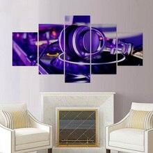 Cartel impreso HD imagen Modular 5 piezas lienzo arte sonido de música reproductor de vinilo marcos pintura pared para sala de estar