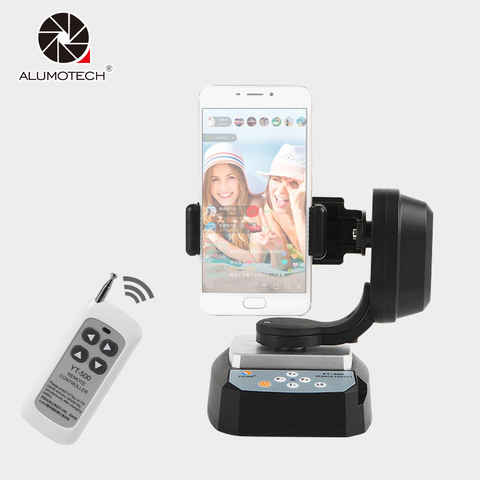 Alumotech YT-500 Panorama Motorized Remote Control Pan Tilt Tripod Mount Adapter Cradle Head For Smart Phone Gopro DSLR Camera zifon yt 500 remote control pan tilt auto motorized rotating video tripod head stabilizer for smartphone
