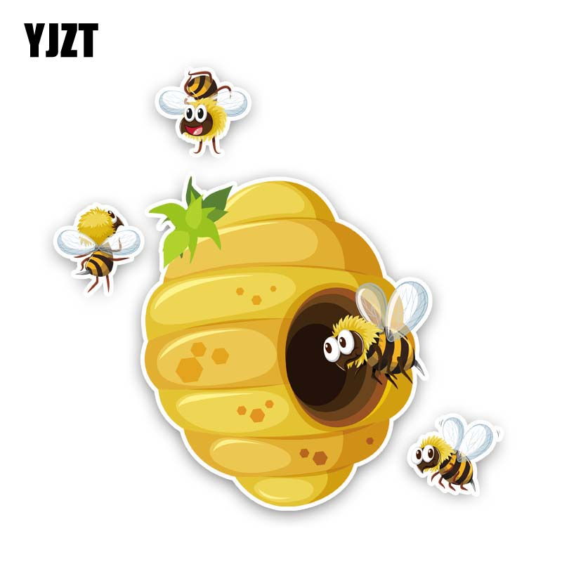 YJZT 15.4CM*15.1CM Bees Build Beehives Car Sticker Originality PVC Decal 12-300919
