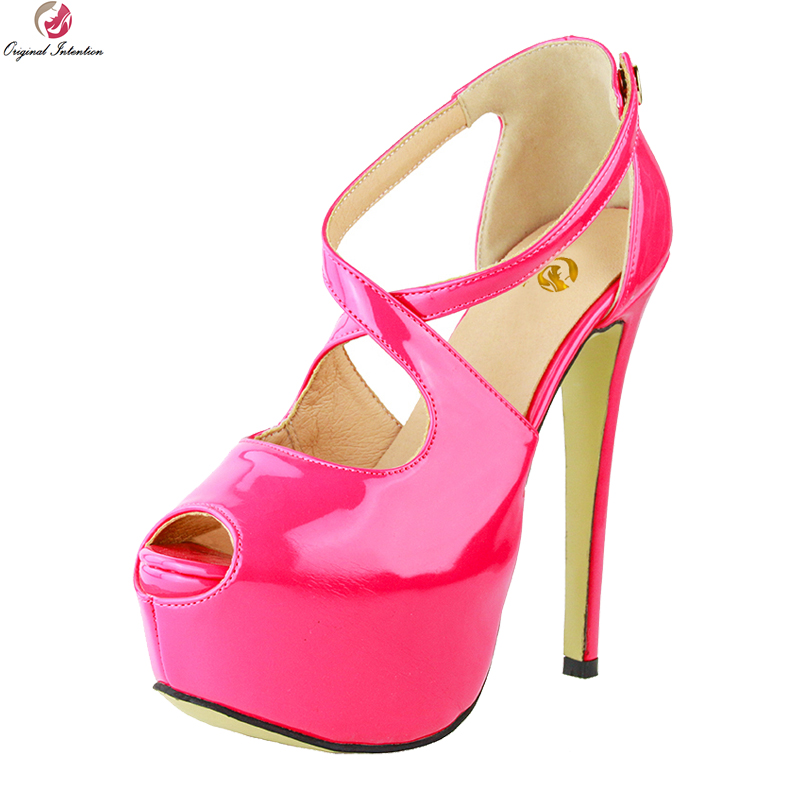 Original Intention Sexy Women Sandals Fashion Open Toe Thin High Heels Sandals Elegant Rose Pink Shoes Woman Plus US Size 4-20 original intention super sexy women sandals fashion open toe thin high heels sandals nice black shoes woman plus us size 4 20
