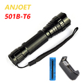 1-Mode Tactical Flashlight 2000Lumens XM-L T6 LED 5-Mode Waterprof Torch Light Rechargeable+18650 Battery+Charger For Hunting