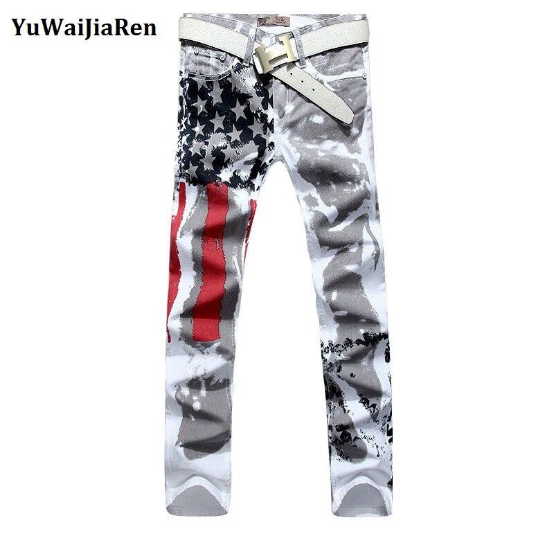 YuWaiJiaRen Big size 28-48 Brand Men's pants New White Printed Fashion Men   Jean   Slim Stretch Printing American Flag   Jeans   Hombre