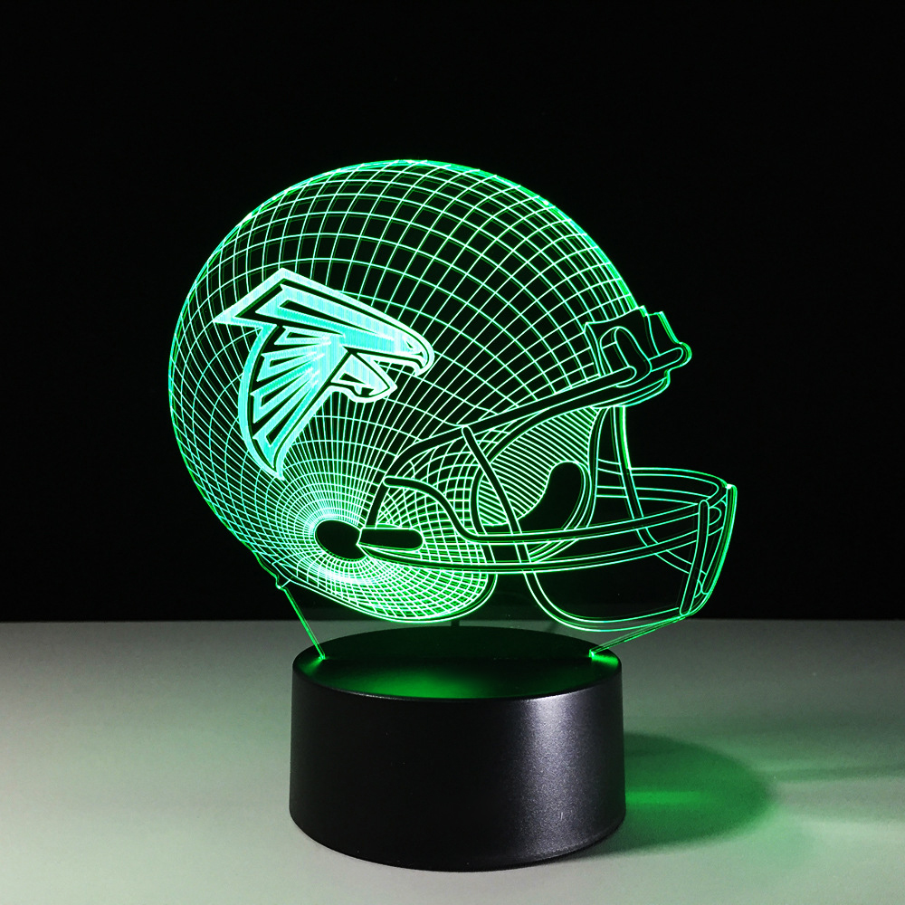 Football Helmet Night Lights 3D Visual Multi-Colored Bedside Lighting LED Household Team Rugby Cap Desk Lamp Falcons Decor Gifts